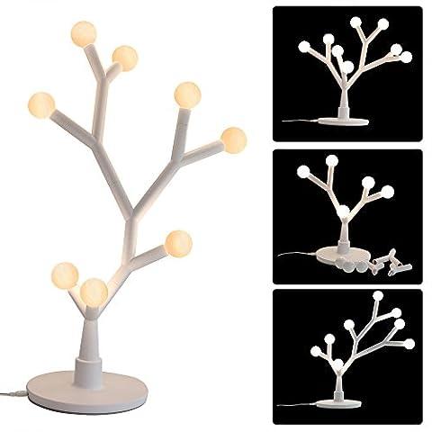 ROGUCI Starry Blossom Tree LED Tischlampe Set, 8 Ball Birnen, Desktop Décor 750Lumen 3000K Weiß Warm Nacht Licht mit verstellbaren Zweigen, für Haus und Weihnachten Dekoration (Weiß)