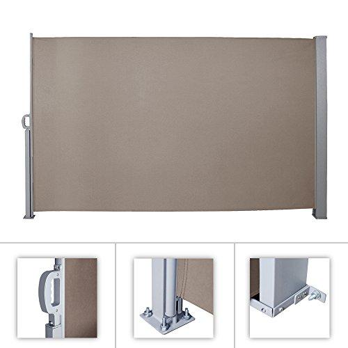 HG® 180x300cm Seitenmarkise Markise Sonnenschutz Vollkassette Terrassenwindschutz für Balkon Camping Polyester Markisenstoff Eisen inkl. Montagematerial brau