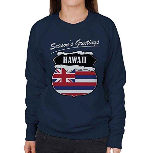 Seasons Greetings Hawaii State Flag Christmas Women's Sweatshirt (Sweatshirt Flag State)