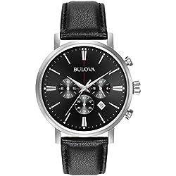 Bulova Classic Aerojet 96B262 - Reloj de Pulsera de Diseño para Hombre - Función de Cronógrafo - Correa de Cuero - Negro