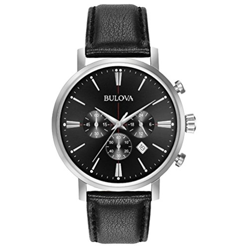Bulova Men's Designer Chronograph Watch Leather Strap - Black Classic Aerojet 96B262