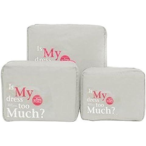 3PCS / SET Tidy Nylon Mesh Zipper portatile Deposito viaggio Storage Sacco Clothes Organizer Caso Valigia Borsa Pouch, grigio