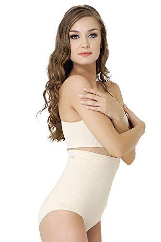 Formeasy Damen Figurformender Miederslip ohne Bein, bauchhoch - Bauchweg Unterhose Bauch Weg Slip Shapewear (M, Beige) -