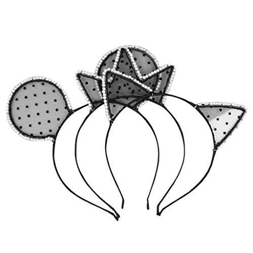 (Cuigu Haarreife - Sexy Katze Ohr Stirnband Party Kostüm Haarband Perlen Spitze Cosplay, Gelegentliche Lieferung)