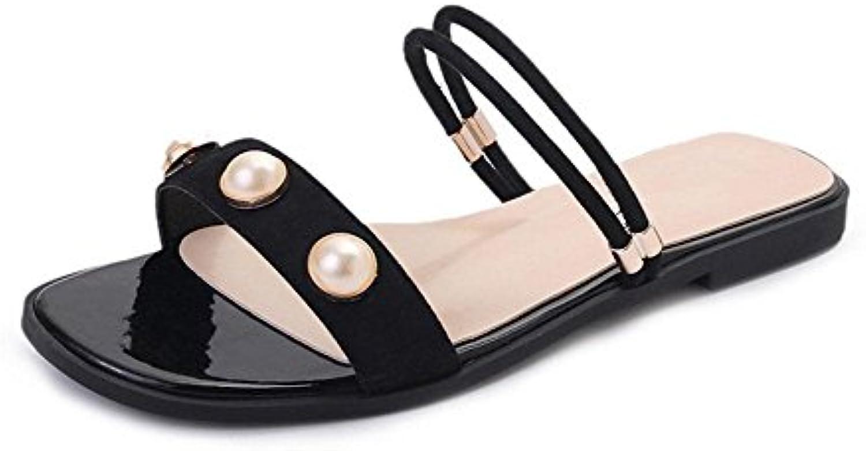 -Palabra estilo sandalias sandalias de punta abierta perla de las mujeres alumna plana con zapatos salvajes playa...