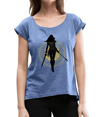 Spreadshirt Warner Bros Wonder Woman Umriss Mit Waffen Frauen T-Shirt mit gerollten Ärmeln, M (38), Denim meliert