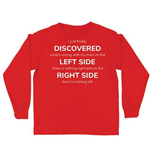 lepni.me Kinder-T-Shirt mit Langen Ärmeln Auf der linken Seite gibt es Nichts mehr, auf der rechten Seite Nichts mehr. (5-6 Years Rot Mehrfarben)