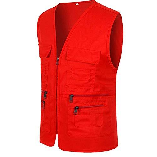 UJUNAOR Männer Ärmellose Cargo Jacke Multi-Pocket-Jackenmantel für Herren(Rot,CN 3XL) - Ärmelloses Rollkragen Mock