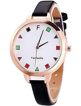 Sunnywill Luxury Fashion Leather Band Analog Quartz Round Wrist Uhren (Black)