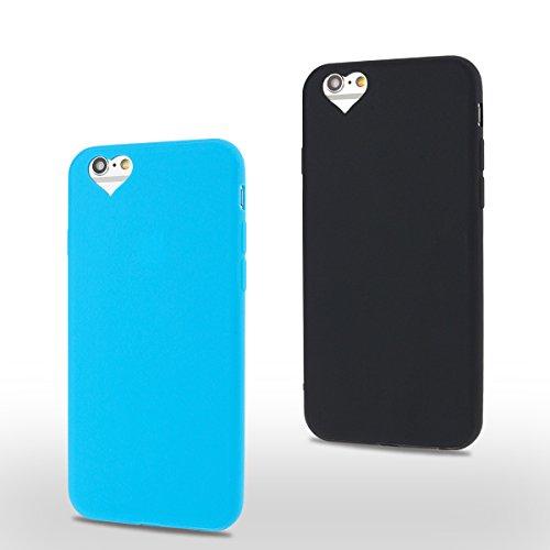 2×Cover iPhone 6 Plus (5.5 pollici) Spiritsun Apple 6S Plus (5.5 pollici) Moda Ultraslim TPU Case Elegante Carina Souple Flessibile Morbido Silicone Copertura Perfetta Protezione Shell Paraurti Custod Blu + Nero