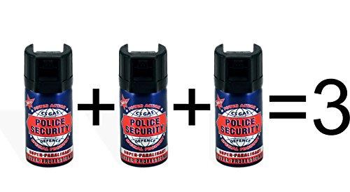 "3 Stück CS-Gas 40ml ""Police Security"" Abwehrspray CS GAS Tränengas"