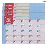 Brilcon 5pcs 100jours Calendrier Compte à rebours Planifier l'apprentissage objectifs travail Planner Agenda Table Périodique des Fournitures de bureau