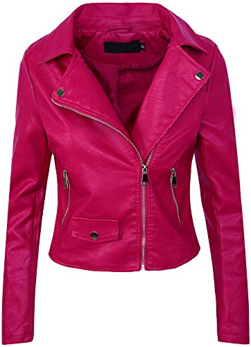 Rock Creek Selection Damen Biker Jacke Lederjacke D-271 [PU-2221B Fuchsia 40]