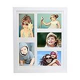BD ART 28 x 35 cm Mehrfach Bilderrahmen, Bildergalerie, Fotogalerie mit Passepartout und 5 Foto-Ausschnitten für Fotos 10 x 15 cm, Weiß