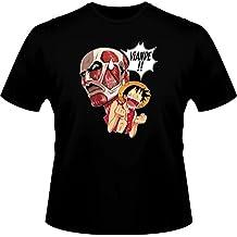 T-shirt, diseño de Luffy, de la serie One Piece Parodie VS de ataque Titans-carne!!!!-Camiseta de Manga corta para hombre, color negro, calidad alta