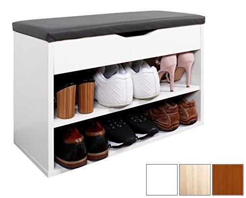 RICOO Schuhregal mit Sitzfläche Schuhschrank WM032-W-A Schuhablage Schuhkommode Organizer Boden...