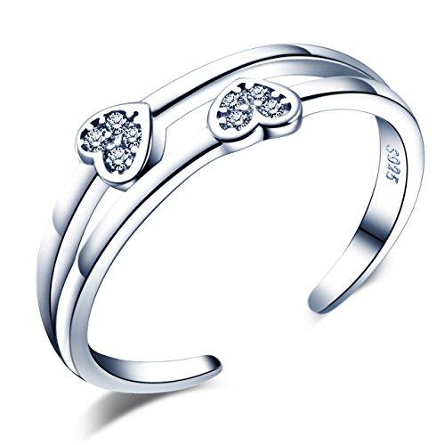 Unendlich U Fashion Herzen 925 Sterling Silber Zirkonia Doppel Bände Offener Ring Verlobungsring Trauring Verstellbar Größe 49 bis 56, Silber (Doppel-band Silber Ring)