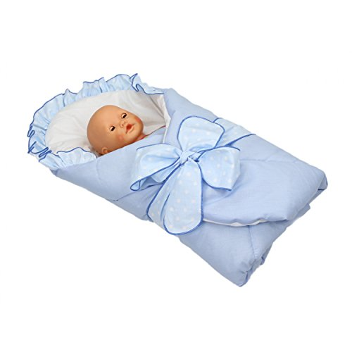 Baby Einschlagdecke Babyhörnchen Babydecke zum Einwickeln Wickeldecke Wattiert Babynest, Farbe: Blau, Größe: 70 x 70 cm