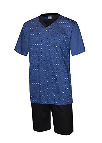 Herren Schlafanzug kurz Herren Pyjama kurz Herren Shorty Schlafanzug aus 100% Baumwolle oberteil blau/hose marine