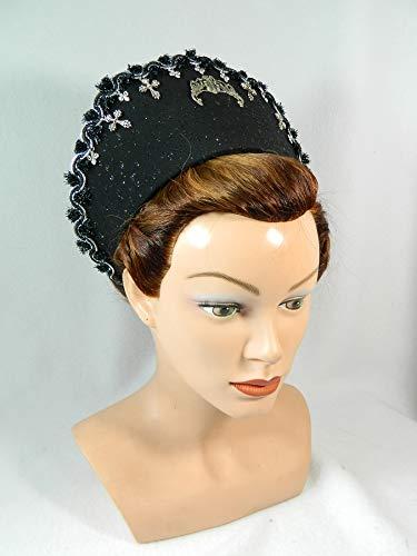 French Hood schwarz Glitter Gothic Attifet Stuarthaube Haube Tudor Mittelalter Kokoshnik Jungfernkranz Prinzessin