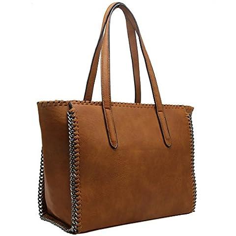 CRAZYCHIC - Grand sac cabas à chaînes et tresses - Camel