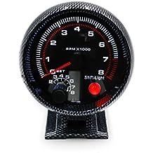 cnspeed tacómetro de fibra de carbono 9,53cm de 80mm Coche de carreras 0–8000rpm RPM calibre con cambio luz soporte de montaje