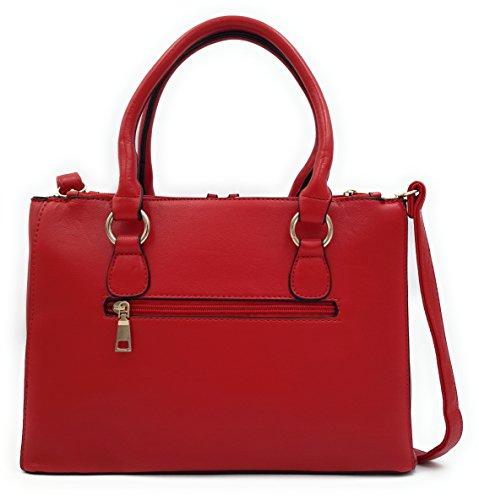 CONTRO VENTO - Borsa Elicia 106, Borsa da donna, Borsa a spalla e a mano con tracolla Rosso