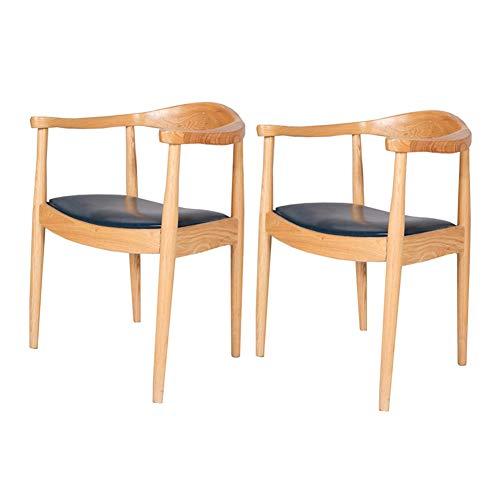 Stühle CJC Esszimmerstühle Set von 2 Mid-Century Essen Seite Solide Holz Rahmen, Faux Leder Leinen Sitz (Farbe : Wood Color+PU seat) - Faux Leder-rahmen