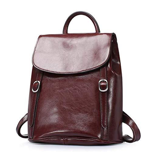 Yyqtbb Frauen Rucksack Leder Damen Rucksack Mode lässig leichte mehrere Taschen Damen Rucksack Schulter Handtaschen Schultasche (Color : B) -