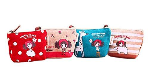 LAAT 4 pcs Porte-Monnaie de Toile Mini Sacs à Main Femmes Cartoon Mignon Support à Portefeuille pour Cartes de Crédit, Clés, Rouge à Lèvres, Écouteur