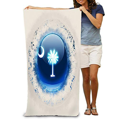 Premium Quality Pool Towel,Swim Towels for Bathroom,Gym,and Pool 31 In X51 In South Carolina State Flag Round Grunge icon United - South Carolina Pool
