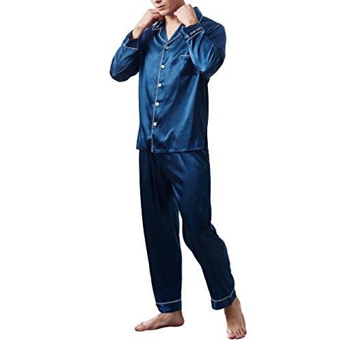 Nunubee Herren Pyjama Imitiertes Seidengewebe Lang Klassische Satin Schlafanzug Nachtwäsche Set M~3XL Plus-Größe, Saphirblau 2XL