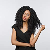 CXQ Swiss Synthetic Hair 24 Inch Afro Kinky Curly 16 * 4 Lace Front Wigs 100% Kanekalon Glueless Full Wigs for Black Women,1B,150%,24 inch