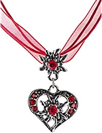 Trachtenkette Wiesnherz - elegantes Herz mit Strass und Edelweiss in vielen Farben - Anhänger Trachtenschmuck Kette für Dirndl und Lederhose Damen