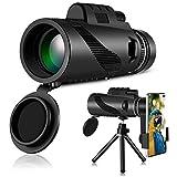 HWeggo Monokular Fernglas,Monocular Telescope Handy Teleskop 40X60 HD mit Handy Halterung Stativ für Klettern Wandern Jagd vogelbeobachtung