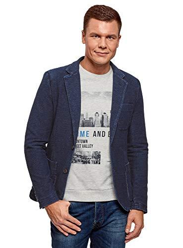 oodji Ultra Herren Jersey-Sakko mit Brusttasche, Blau, DE 56 / XL -