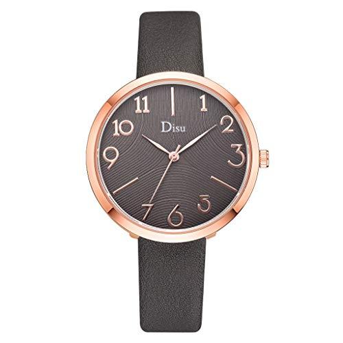 Damen Armbanduhr Analog Quarz Leder Band Kunst Armband Klein Frisch Mädchen Uhr Gold Ziffernblatt (C)