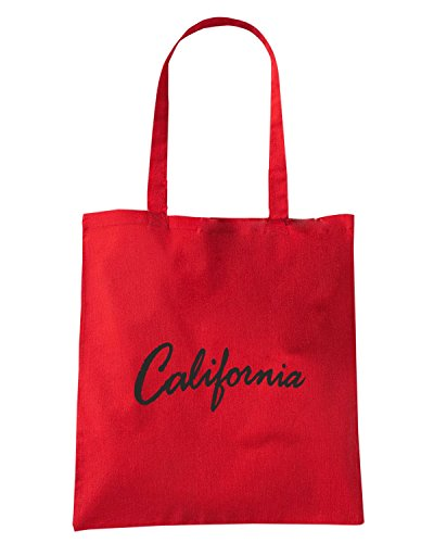 T-Shirtshock - Borsa Shopping FUN0155 06 20 2013 California Cursive T SHIRT det Rosso