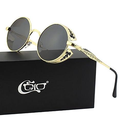 CGID Retro Sonnenbrille im Steampunk Stil, runder Metallrahmen, polarisiert, für Männer, E71