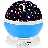 جهاز عرض دوار ومصباح بإضاءة ليلية رومانسية بتصميم السماء والقمر والنجوم، لون ازرق