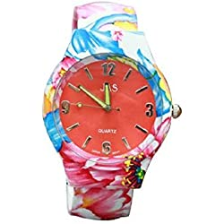 Ladies Floral Pattern Red and Blue Beautiful Round Face Bracelet Bangle Watch With Extra Battery