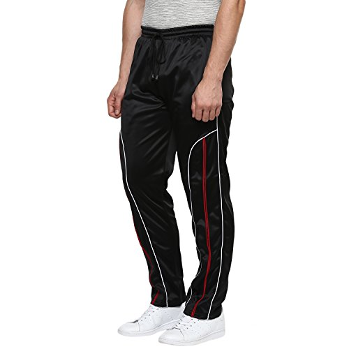 AMERICAN CREW Men's Polyester Trackpant (AL092-L, Black, Large)