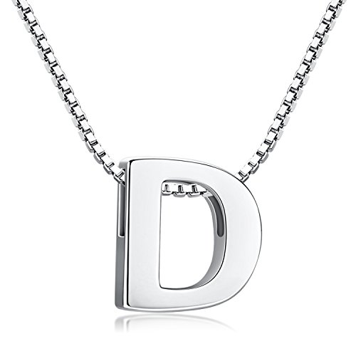 Buchstabenkette 925 Sterling Silber Name Halsketten Initialen Buchstabe Kette Anhänger Damen (Kette mit buchstabe D)