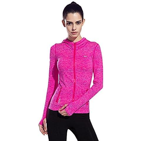 SEEU Women's Training Long Sleeve Running Top Hoodie Yoga Fitness Jacket with Full Zip Rose L