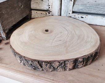Große Natural Wood Log Scheibe Baumrinde Hochzeits-Tabellen-Mittelstück Tortenständer (XXL 43-47cms)