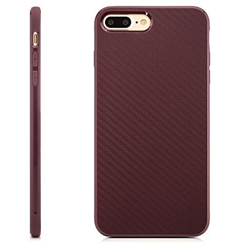 Coque iPhone 7 Plus Case Silicone Cover Carbon Design Housse en TPU Mince Protecteur Bumper et pare-chocs pour la Protection Apple iPhone 7 Plus 5.5 pouces - Noir Lilas