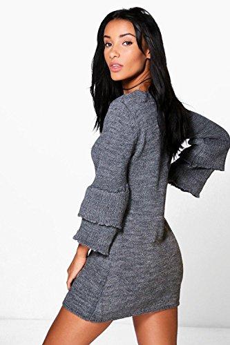 Grau Damen Natasha Frill Sleeve Jumper Dress Grau