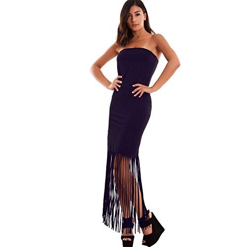 Toocool - Vestito donna mini abito tubino frange lungo bandeau tubo sexy nuovo AS-7335 Blu scuro