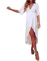 Ode-joy Donna Cardigan Bende Manica Corta Vestito Colletto a V sopra Le  Caviglie gonne Eleganti Lunghe e estive di… e3ce8ef695f