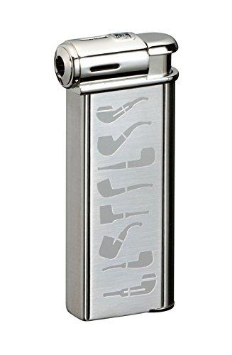 Sarome Elektronischer Piezo Pfeifenfeuerzeug PSP-Silber 13 super satin mit Rohr-Design